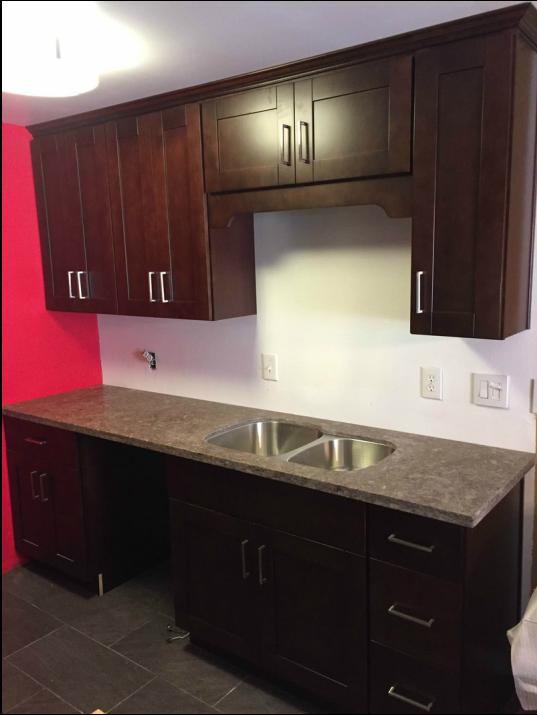 Espresso Shaker Kitchen Cabinets Amp Dark Grey Quartz