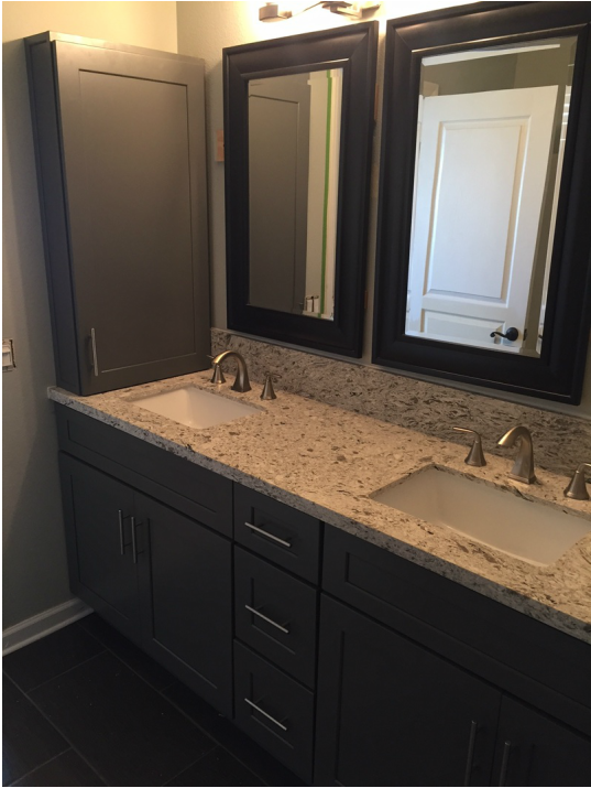 Dark Grey Shaker Bathroom Cabinets With Quartz Countertops