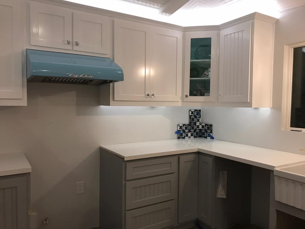 White Shaker Upper Cabinets And Grey Base With Pure Quartz Countertops For Marlo Cosata Mesa Ca Kitchen Prefab Rta