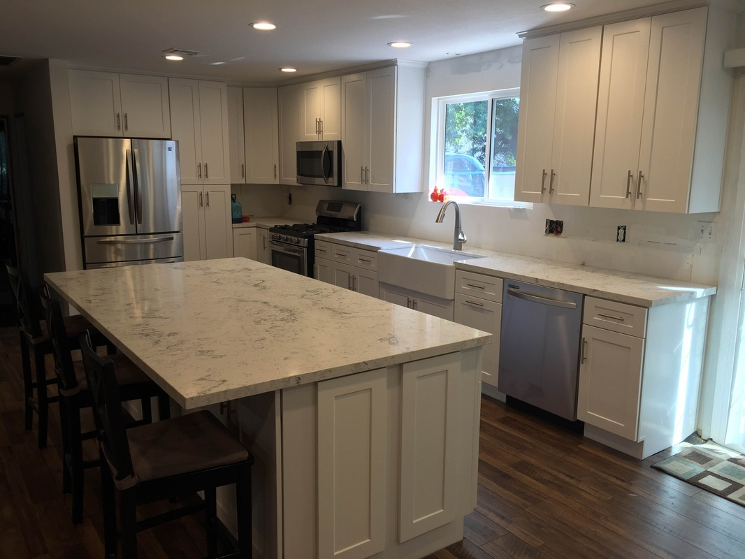 Shaker Cabinets Kitchen White Quartz Countertops