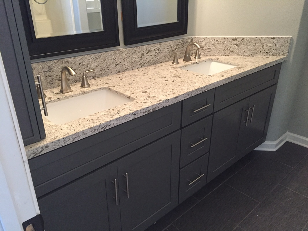 Dark grey shaker bathroom cabinets with quartz countertops for Bathroom cabinets online