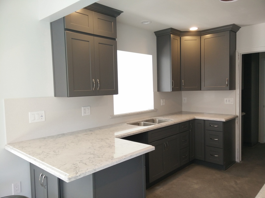 Dark Gray Shaker Cabinets With Silestone Quartz Countertop Ogee Square Edge And Full Wall Back Splash For Won Na Torrance Ca Kitchen Prefab