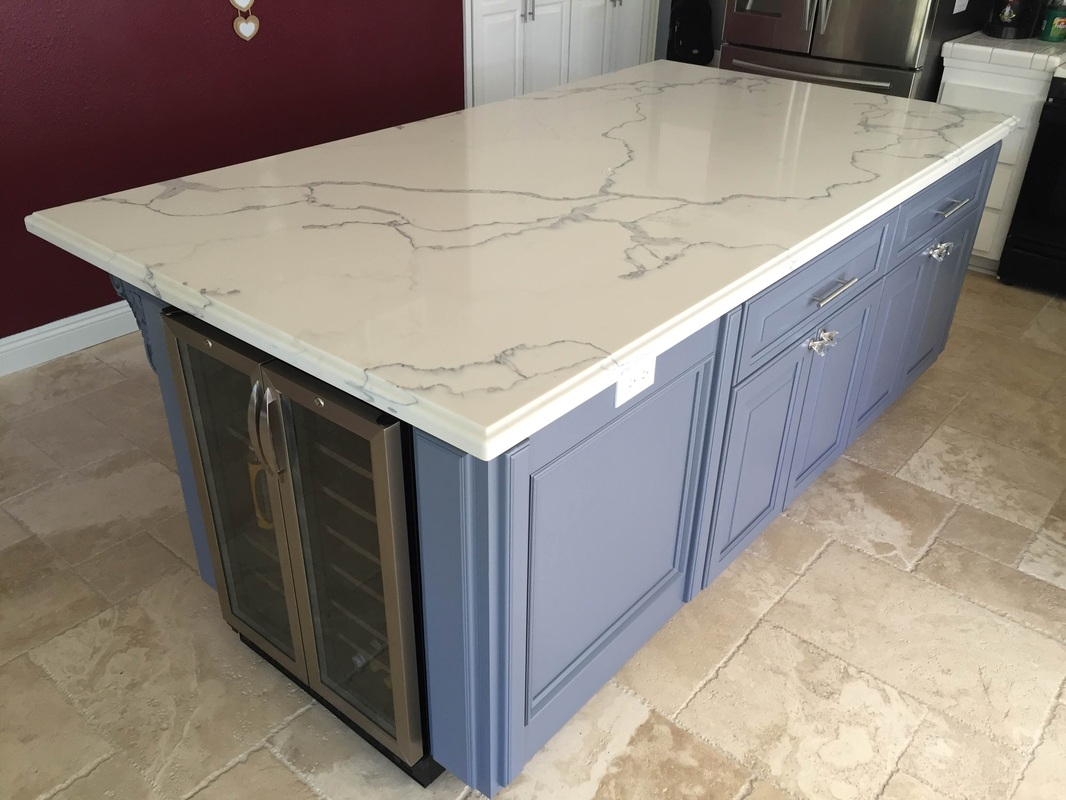 Quartz 4 X 8 Island With Ogee Square Edge Nathan Simi Valley Ca Kitchen Premade Cabinets Wholesalers Warehouse Rta Kitchen Cabinets Kitchen